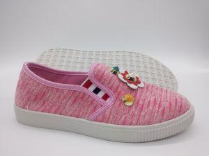 Zapatos de lona de inyección de último diseño de zapatos de ocio (FZL7802-4)