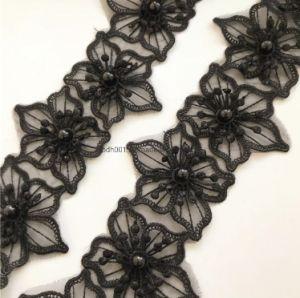 Bande de broderie de perles de gros de l'organza dentelle textiles