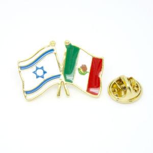 Distintivo di Pin della bandierina del metallo del fornitore dei monili dello smalto della Cina, Pin su ordinazione della bandierina del Messico di amicizia