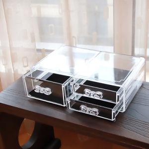 Poignée de la mode des tiroirs de stockage de l'organiseur cosmétiques Présentoir acrylique