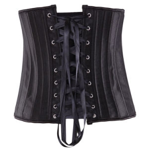 Entrenador de la cintura de mujer con deshuesado corsé negro Top
