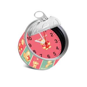 Commerce de gros cadeau de promotion de l'étain peut horloge personnalisée