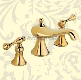 9022 2つのハンドルの広まった浴室か洗面器のコック(金)