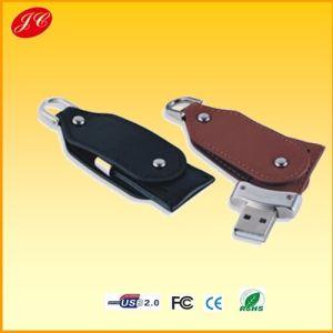 CE/FCC/RoHSの旋回装置のLeather USB Flash Stick