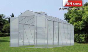 Casa verde do jardim pequeno com série do CH da folha do policarbonato