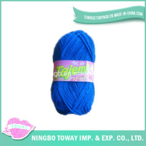 Acrílico poliéster algodón azul de lana fantasía de hilo de tejer a mano