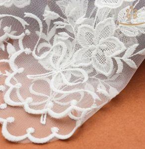 中国の有名なオーガンジーの網の刺繍のレースのトリミングかローズの刺繍のレース