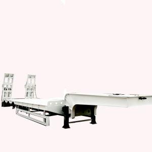 3 4 essieux de pont 45-60 tonnes de fret Low-Bed à plat à usage intensif d'équipement lourd de transport remorque de camion semi-remorque pour la vente