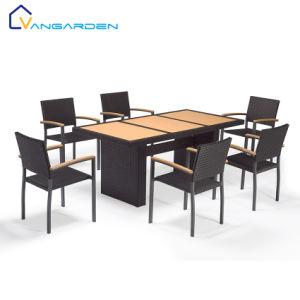 6-местный плетеной мебелью набор таблицы с пластмассовой дерева верхней части