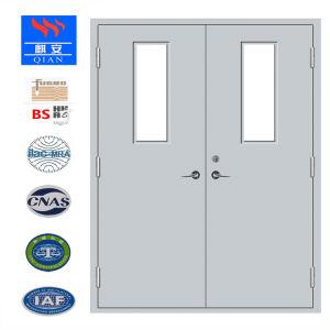 Certificado pela UL Saída de Emergência ignifugação de Porta de Metal de resistência a fogo da porta de aço com a visão da janela
