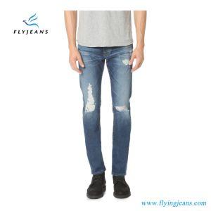 2019 última moda Blue Stretch Ripped Denim Homens (calças de ganga E. P. 4129)