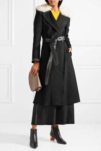 2017 Mulheres roupas de lã e Cashmere-Blend Shearling-Trimmed Fábrica cubra