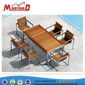 Tabla de madera de teca de jardín Muebles para el ocio al aire libre y un sofá de madera de teca establece