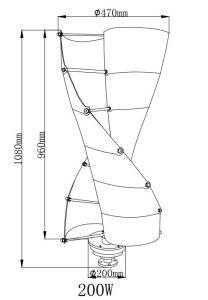 Générateur de turbine vertical solaire hybride de vent de 200W 12V/24V