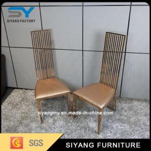 Hogar muebles de cuero silla de metal dorado sillas de comedor para Restaurante