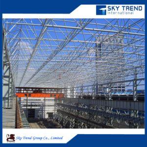 Span grandes edificios prefabricados de estructuras de acero, nave industrial de acero con panel de aislamiento