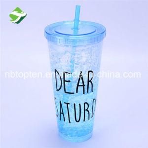 Venda a quente Double-Deck garrafa de sumo de fruta de plástico com palha