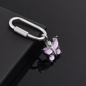 記念物のための蝶形のピンクの水晶火葬Keychain