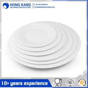 Logotipo personalizado Housewares cena redonda blanca de melamina de la placa de plástico