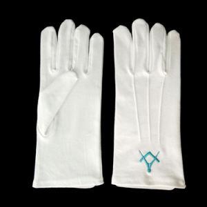 Carré bleu boussole maçonnique gant de coton de broderie de trois points de suture