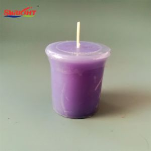 Purpurroter Lavendel roch Bell-oberste Votive Kerze mit Shrink-Satz