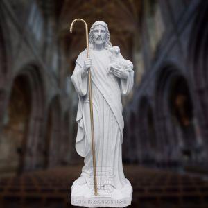 Décoration en marbre religieux de sculpture sur pierre Jésus Statue Sculpture