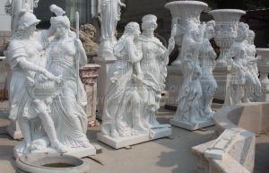 op de Decoratie van de Strijder van de Verkoop en van Dame Marble Stone Sculpture Statue Tuin