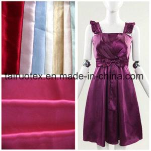 100% de poliéster brilhante para menina tecido vestido acetinado