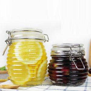 Vaso di vetro filettato del POT di memoria del miele con la parte superiore della clip