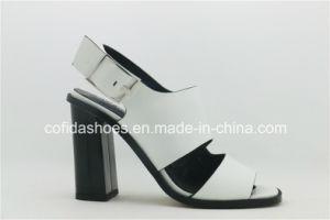 Blanc élégant classique haut talon dame sandale