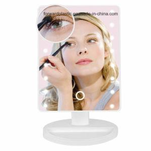 BSCI, CMA, Sqp, Wal-Mart certifié en usine, miroir de maquillage à LED avec 16 voyants, Smart écran tactile, 180 degrés de rotation réglable, double alimentation