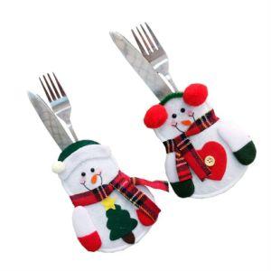 De Decoratie van Kerstmis voor het Ornament van Kerstmis van de Kerstman van de Houders van de Vork van het Mes van het Diner van de Zakken van de Kerstman van de Houder van het Tafelzilver van het Huis