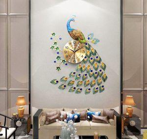 Magnifique Horloge murale Bright-Colored Peacock Creative horloge moderne décoration maison