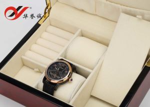 4 يضاعف ألوان ساعة خشبيّة عرض [ستورج بوإكس] مع فولاذ دهانة/ساعة ملفاف