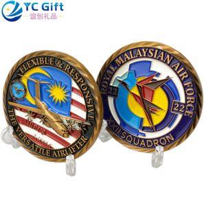 Turismo corporativo personalizado regalo Token de plástico de Plata Monedas Aviones Militares de la policía desafío modelo Metal Moneda Artesanías Malasia Premios de la Fuerza Aérea de monedas de recuerdo