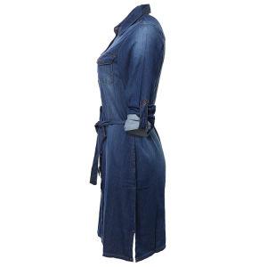 Vestito lungo dal denim del Jean della lavata della memoria del collo della camicia del manicotto di 2019 modi