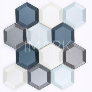 Vapeur hexagone mixtes en mosaïque de verre de couleur pour la cuisine dosseret Tile