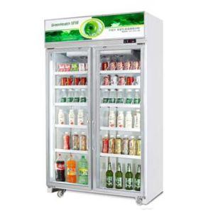 Supermarché en position verticale des boissons commerciales Affichage vitrine Réfrigérateur/refroidisseur