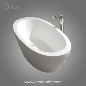 2018新しい現代デザイン厚い端の石の樹脂のアクリルの支えがない浴槽