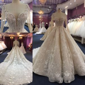Bola de encaje hecho personalizado damas mujer vestidos de Prom vestido de novia vestido de novia Wgf1712-32