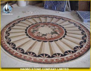 円形のモザイク円形浮彫りの床パターン