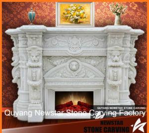 Lareira em mármore de Carrara branca natural Surround com leões entalhar