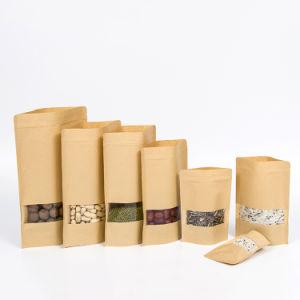 Bolsa de papel Kraft personalizado con Visual de la ventana y Ziplock arena para el Envasado de Alimentos