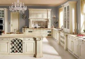 Französischer Art-Entwurf mit dem Kurven des klassischen festes Holz Belüftung-Küche-Schrank-Küche-Schrankes