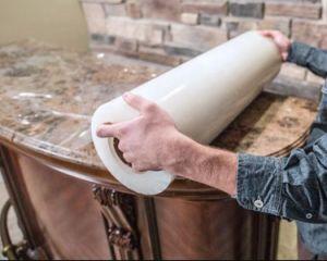 Печать PE пластиковые перфорированные барьер защитная пленка для коврика мрамора