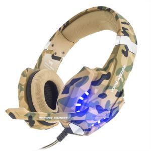 Juegos de reducción de ruido auricular estéreo a través de auriculares con micrófono, la luz LED, Bass rodean