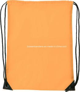 OEMの農産物のカスタムロゴによって印刷される安い昇進ポリエステルオレンジドローストリングの靴のスポーツ袋