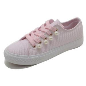 Suela de caucho vulcanizado mujer moda Zapatos de lona Km180605-25 Casual