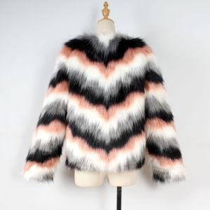 Womens Fashion Fausse Fourrure à manchon long Veste fourrure douce moelleux de manteau d'hiver