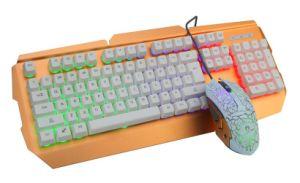 LEIDENE Witte, Gouden Comfortabele Hand die het Getelegrafeerde Mechanische Toetsenbord van de Desktop voelt USB